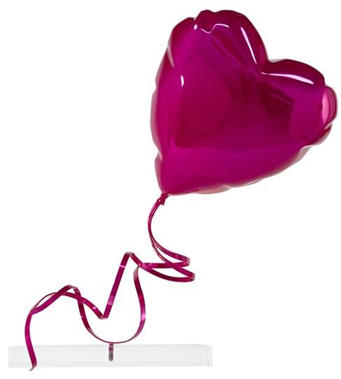 Flying Balloon Heart (Pink) by Mr. Brainwash - Chrome Painted Fiberglass on Acrylic Base
